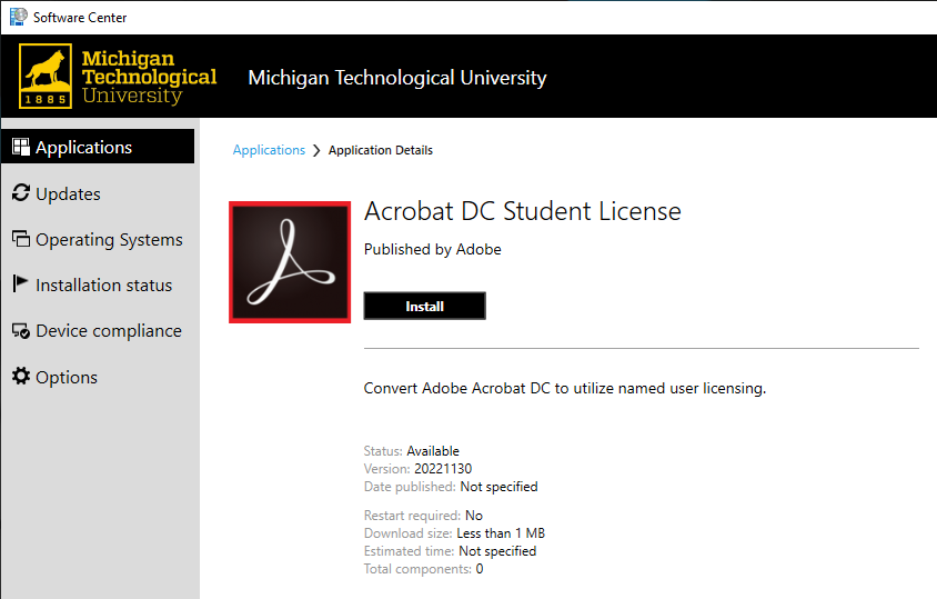 Acrobat DC Student License Software