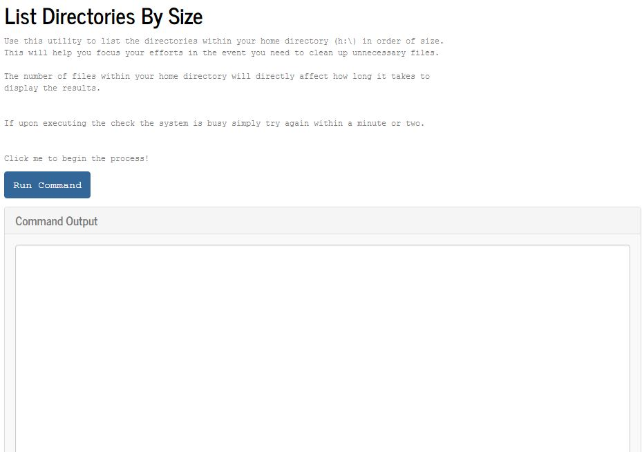 Directory by size