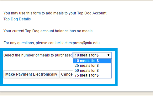 Example showing how to select the number of meals to purchase