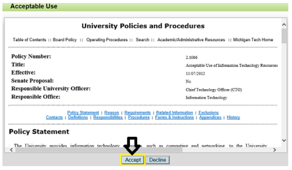 acceptable use policy window