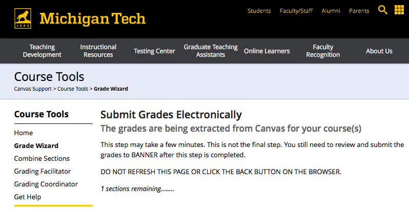 Notification screen of extracting grades