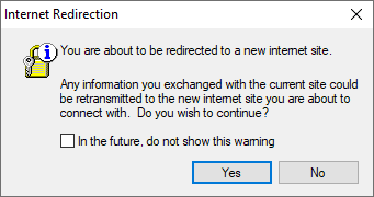 Internet redirection prompt