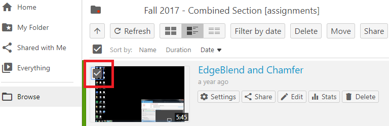 Checkbox on the thumbnail of recording
