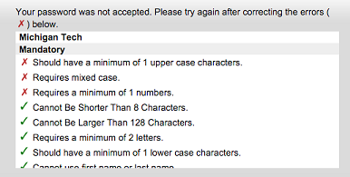 Password Not Accepted Screen and Password Requirements