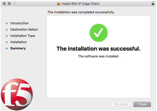Select the close button when install is complete