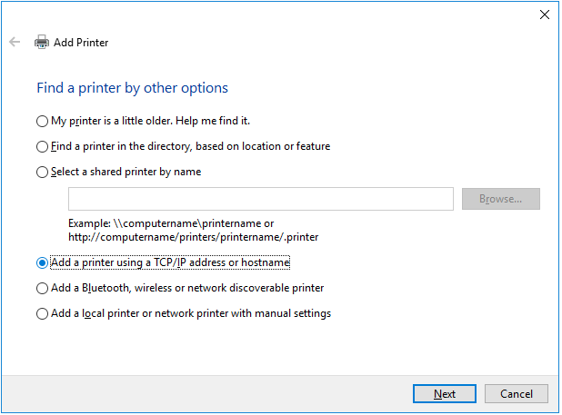 add printer using tcp/IP address or hostname
